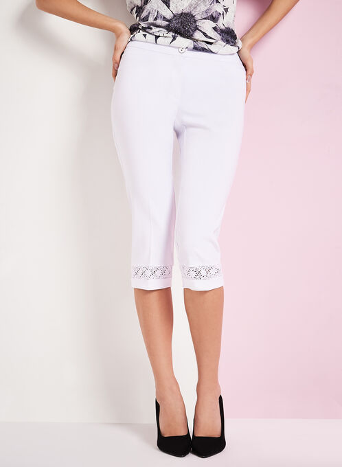 Modern Fit Lace Trim Capris, White, hi-res
