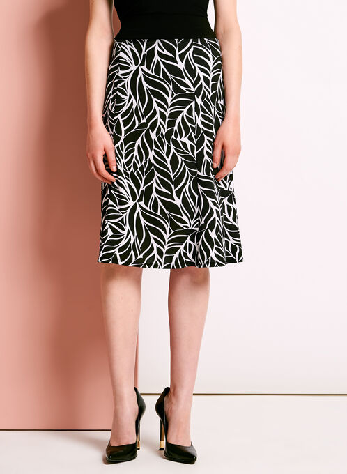 Graphic Leaf Print Gored Midi Skirt, Black, hi-res