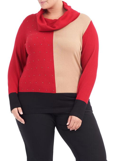 Cowl Neck Printed Knit Top, Black, hi-res