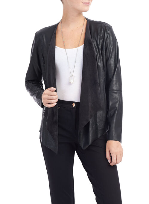 Flowy Drape Collar Jacket, Black, hi-res