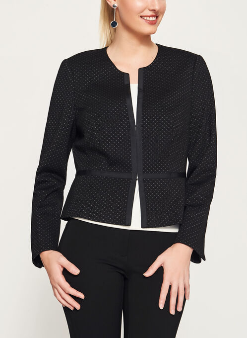 Cropped Ponte Jacket, Black, hi-res
