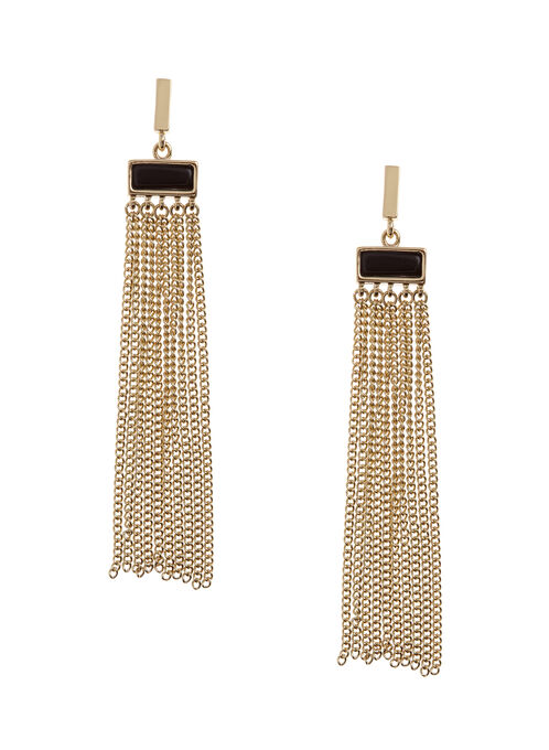 Tassel Chain Drop Earrings, Gold, hi-res