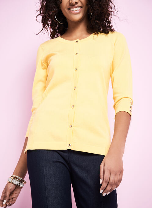 3/4 Sleeve Knit Cardigan, Yellow, hi-res