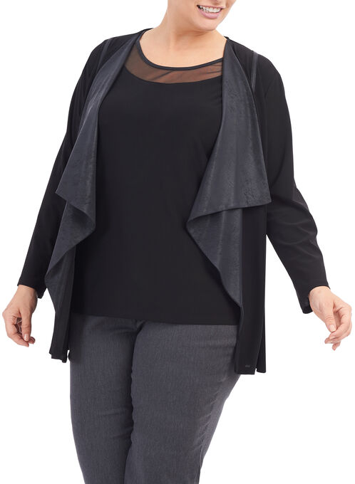 Knit & Faux Leather Cardigan, Black, hi-res