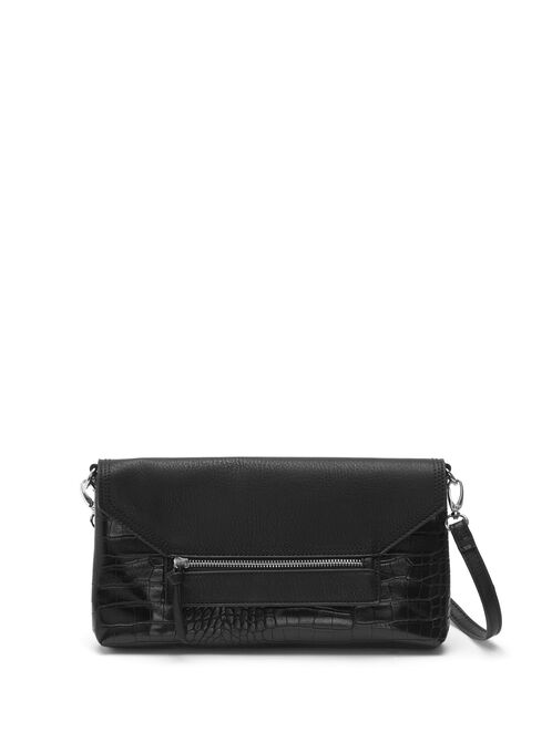 Faux Leather Zipper Trim Clutch, Black, hi-res