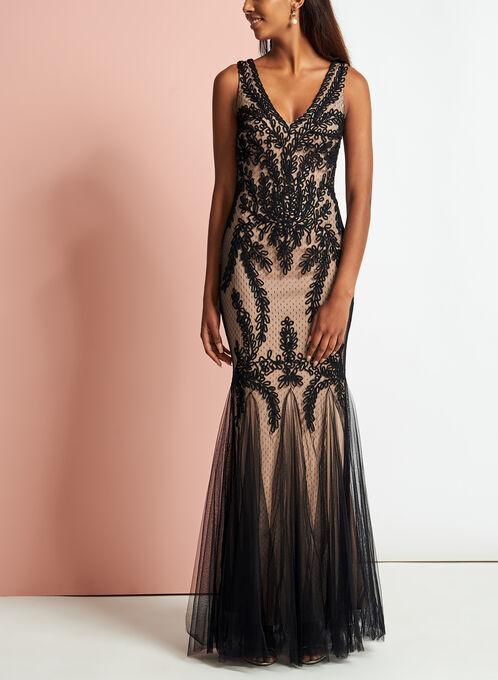 Lace Soutache Mesh Gown, Black, hi-res