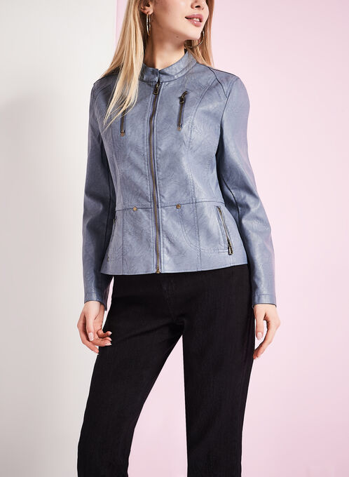 Faux Leather Zipper Trim Jacket, Blue, hi-res