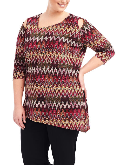 Peekaboo Shoulder Tunic Top, Red, hi-res