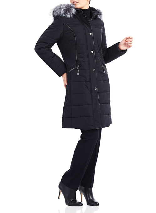Novelti Multi-Quilt Down Coat, Black, hi-res