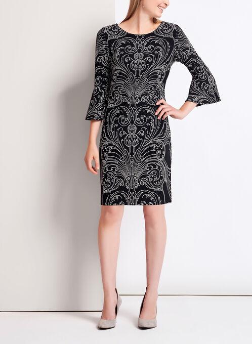 Robe à motif vintage texturé et manches cloche, Noir, hi-res