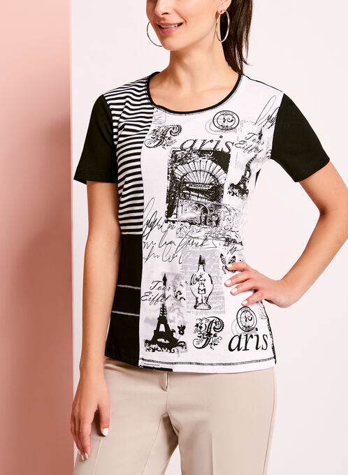 Embellished Patchwork Print T-Shirt, Black, hi-res