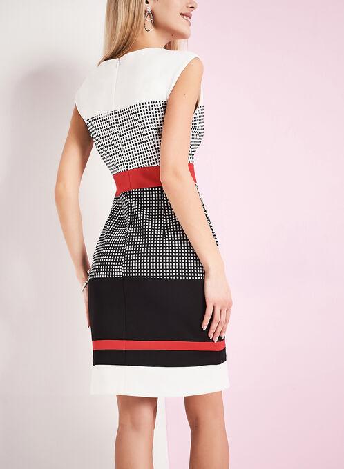 Crêpe Check Print Dress , White, hi-res