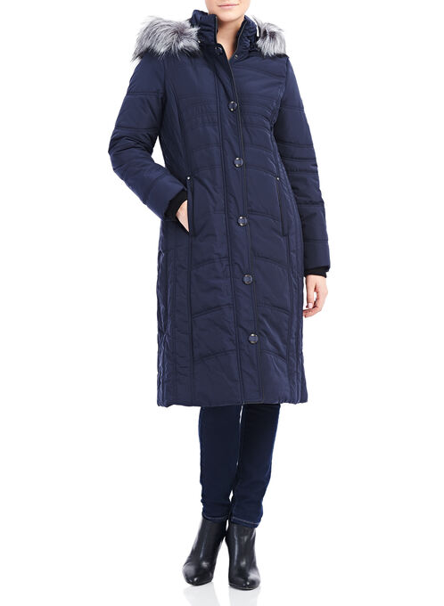Novelti Faux Fur Thinsulate™ Coat , Blue, hi-res
