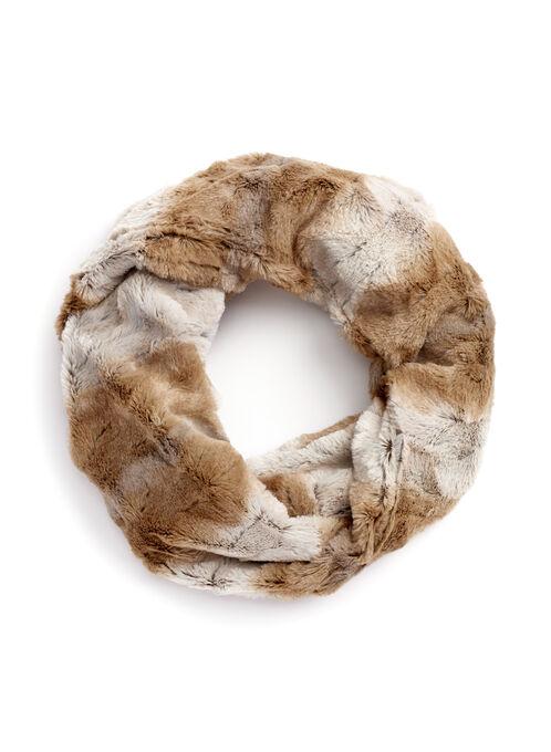 Faux Fur Loop Scarf, Brown, hi-res