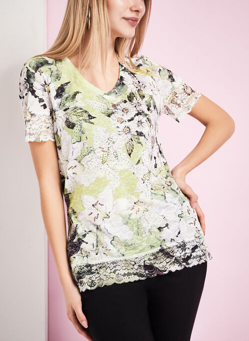 Floral Print Lace Trim T-Shirt, Green, hi-res