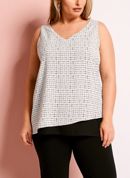 Double Layer Geometric Print Blouse, White, hi-res
