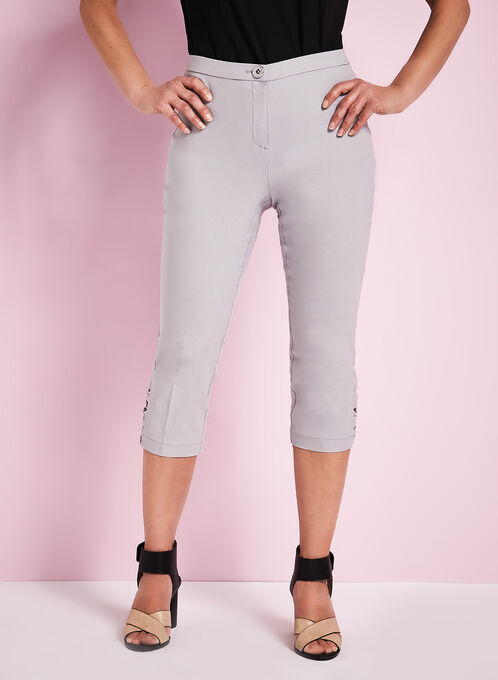 Signature Fit Straight Leg Capris, Silver, hi-res