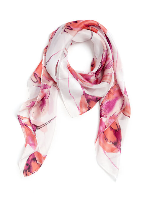 Floral Print Watercolour Scarf, Orange, hi-res