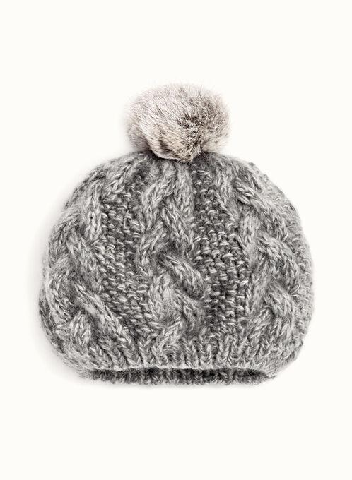 Rabbit Fur Pom Pom Knit Beret, Grey, hi-res