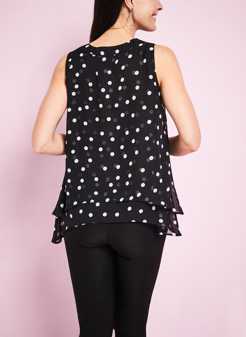 Chiffon Dot Print Blouse, Black, hi-res