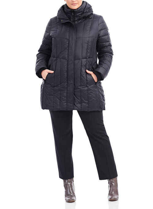Novelti Inside Vest Down Coat, Black, hi-res