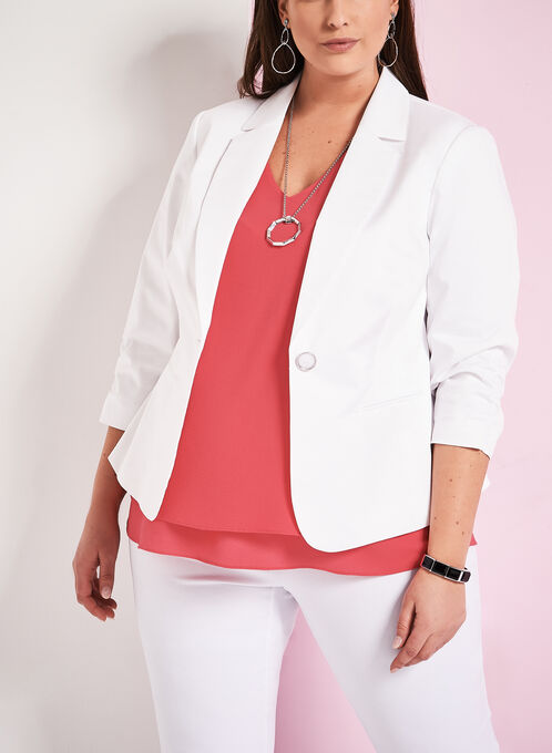 Sateen Single Button Blazer, White, hi-res