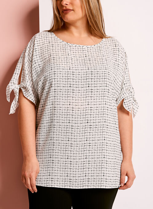 Grid Print Cold Shoulder Blouse, White, hi-res