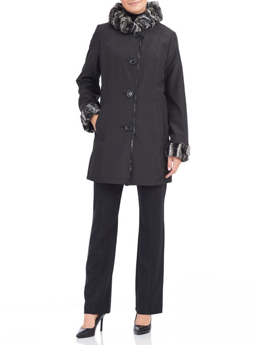 Novelti Reversible Faux Fur Coat, Black, hi-res
