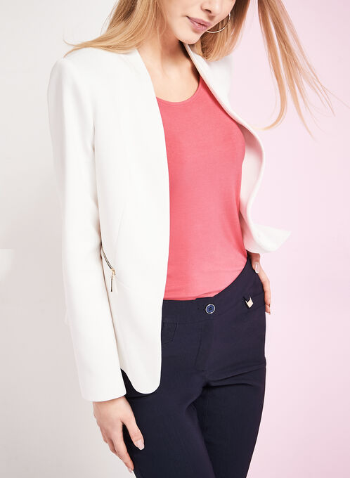 Open Front Zipper Trim Jacket , Off White, hi-res