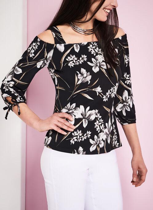 Off The Shoulder Floral Print Blouse, Black, hi-res