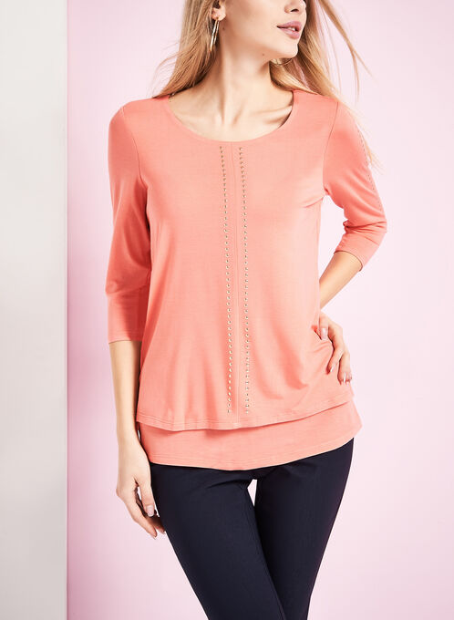 3/4 Sleeve Stud Trim Top, Pink, hi-res