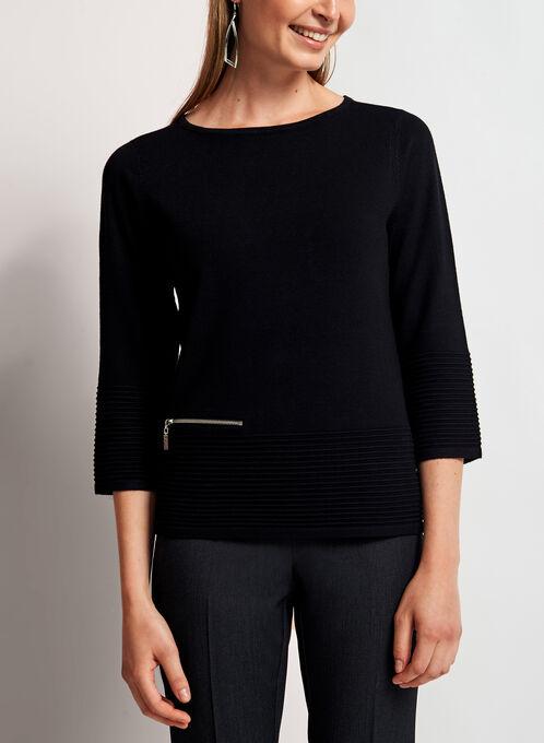 3/4 Sleeve Boat Neck Sweater, Black, hi-res