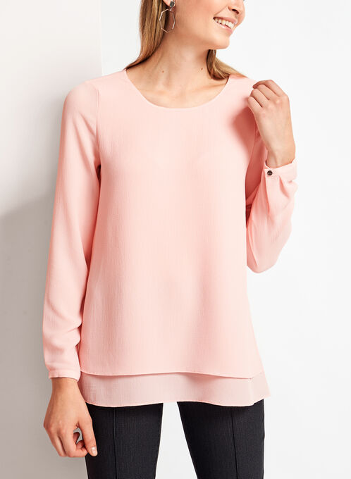 Long Sleeve Double Layer Chiffon Blouse, Pink, hi-res