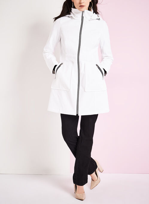 Embossed Anorak Coat, White, hi-res
