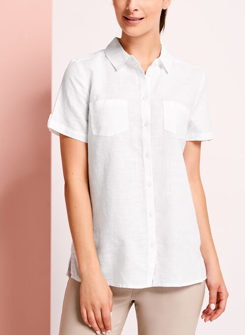Short Sleeve Linen Button Down Shirt, White, hi-res