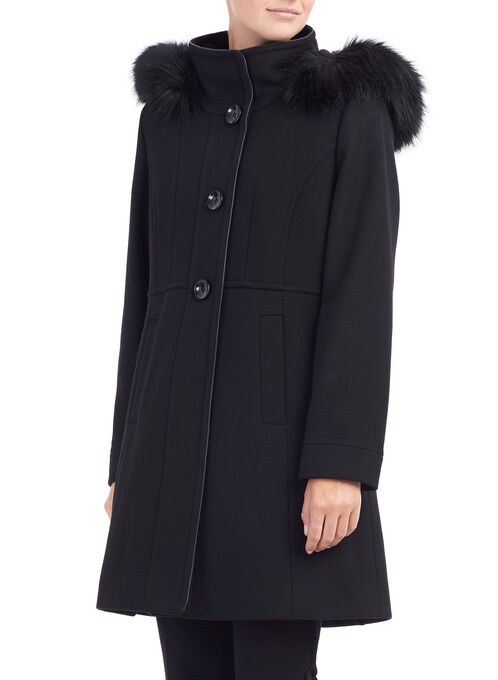 Novelti Wool Twill Coat, Black, hi-res