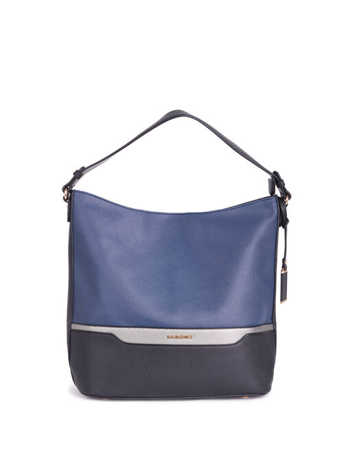 Colour Block Faux Leather Purse, Blue, hi-res