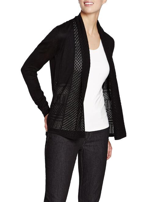 Knit Shawl Collar Tunic Cardigan, Black, hi-res