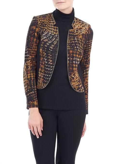 Houndstooth Print Knit Jacket , Black, hi-res