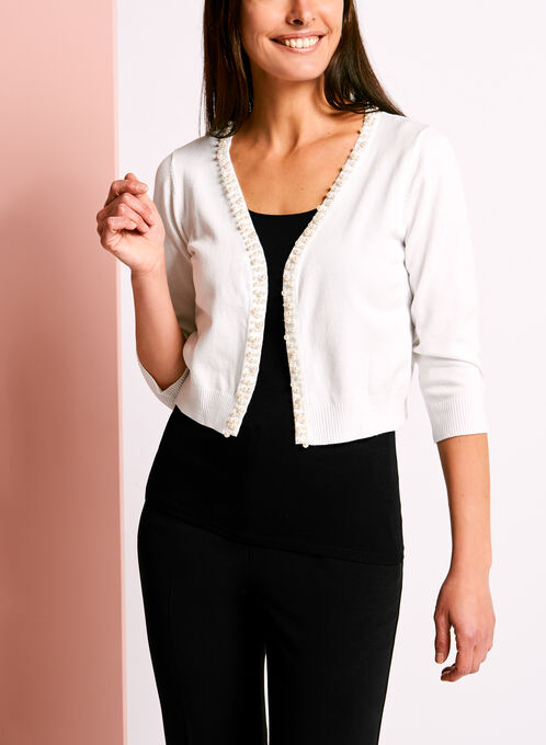 Open Front Pearl Trim Bolero, Off White, hi-res