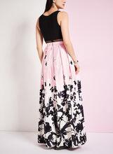 Floral Print Popover A-Line Gown, Black, hi-res