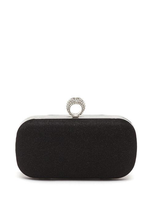 Crystal Ring Embellished Box Clutch, Black, hi-res