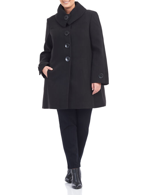 Marcona Wool-Like Coat , Black, hi-res