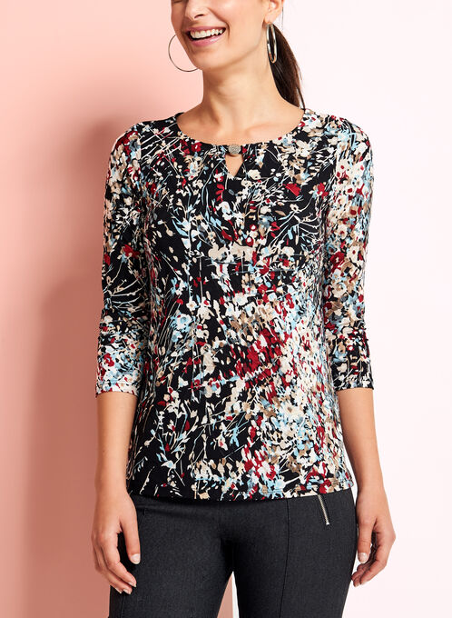Abstract Print Jacquard Keyhole Top, Black, hi-res