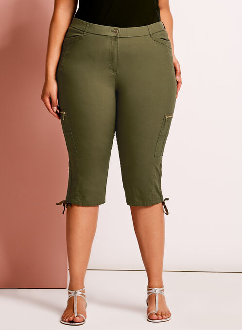 Modern Fit Straight Leg Cargo Capris, Green, hi-res