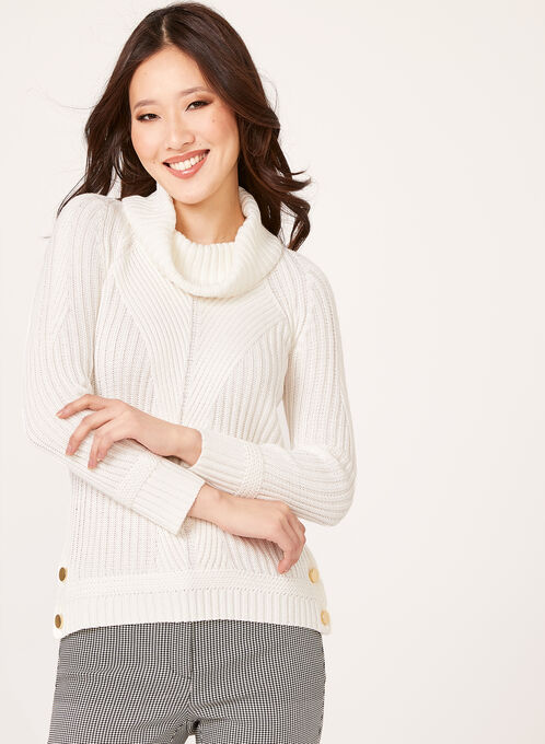 Embellished Cowl Neck Ribbed Sweater, Off White, hi-res