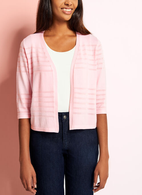 3/4 Sleeve Knit Cardigan , Pink, hi-res