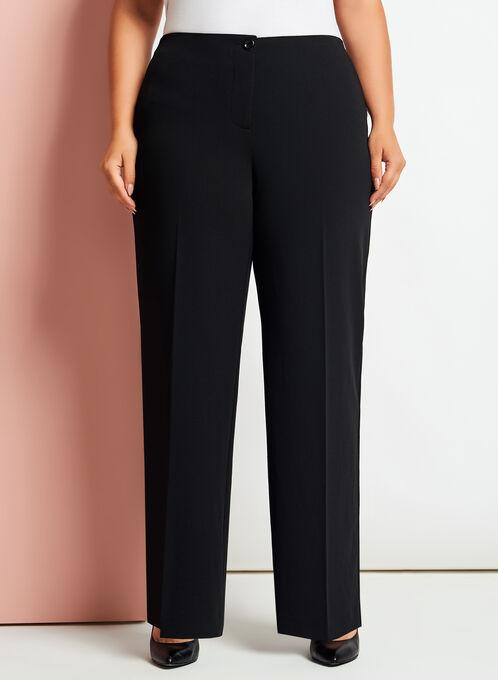 Modern Fit Wide Leg Crepe Pants, Black, hi-res
