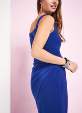 Sleeveless Side Tuck Jersey Dress, Blue, hi-res