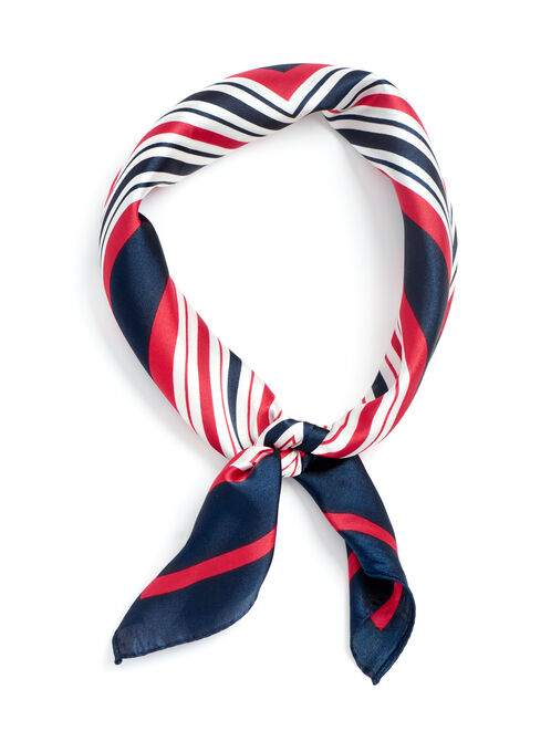 Stripe Print Neckerchief, Blue, hi-res